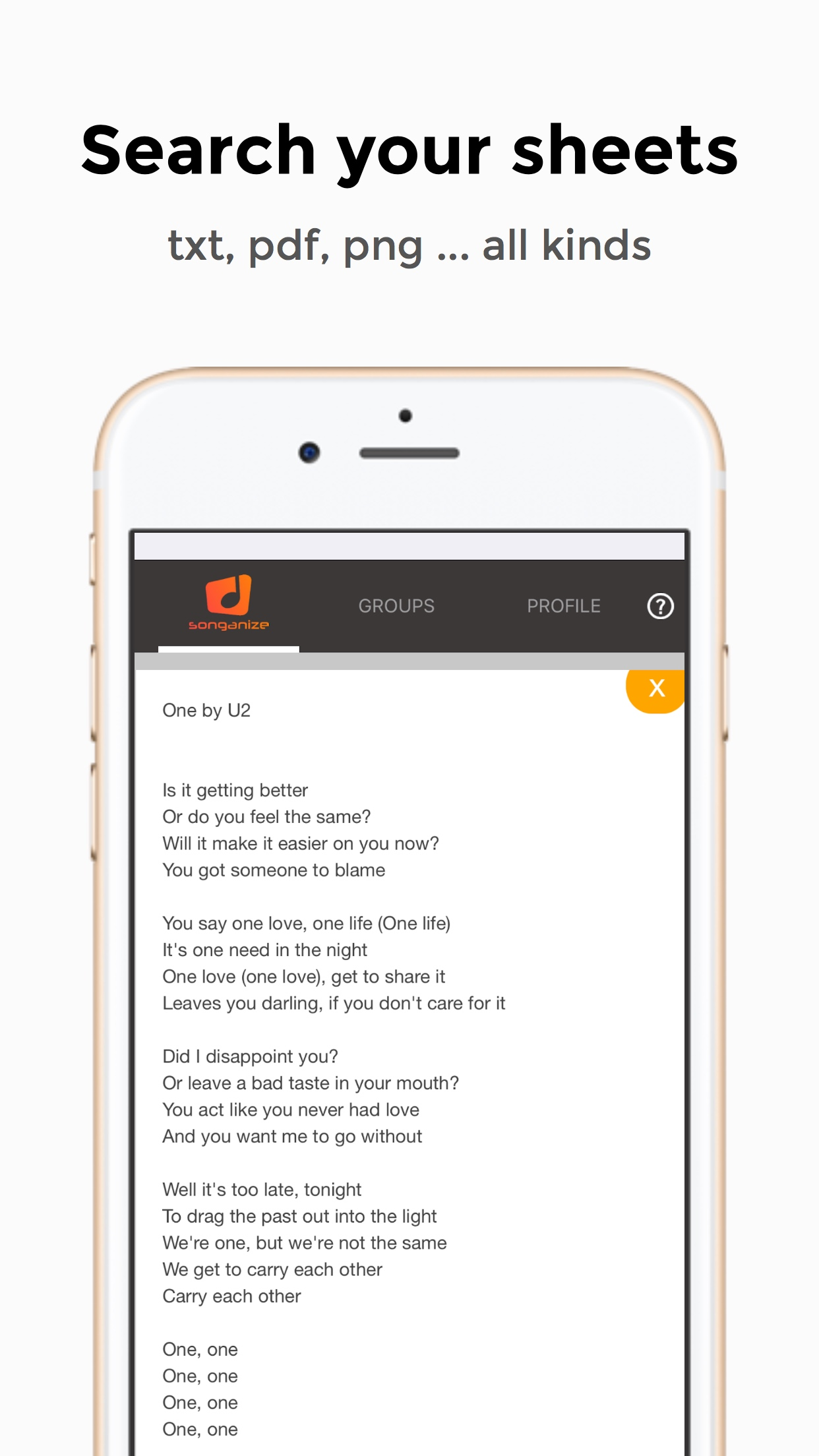 Open song lyrics or chords in the app